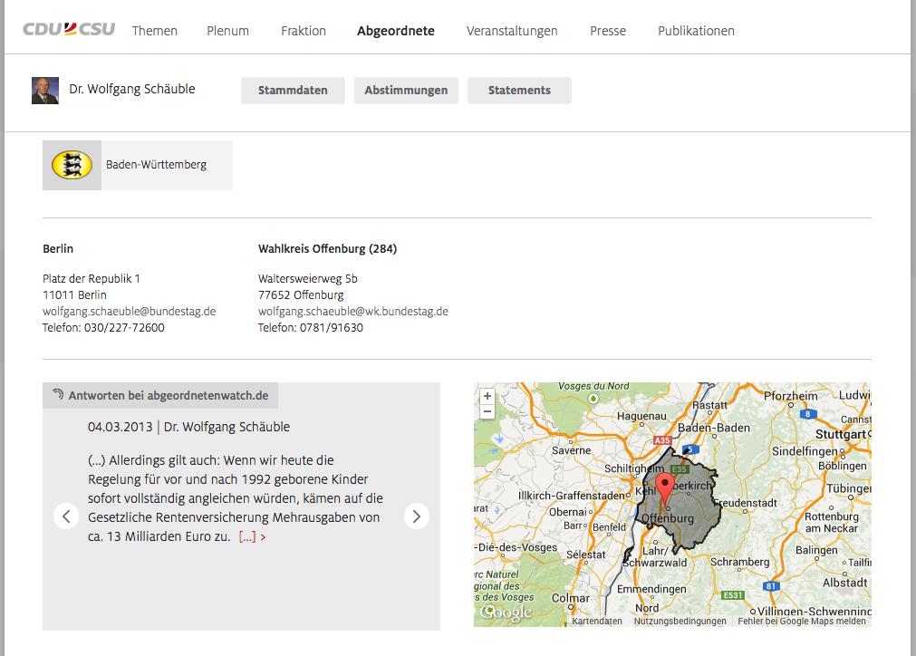 Snippets der Antworten auf den Profilseiten von cducsu.de