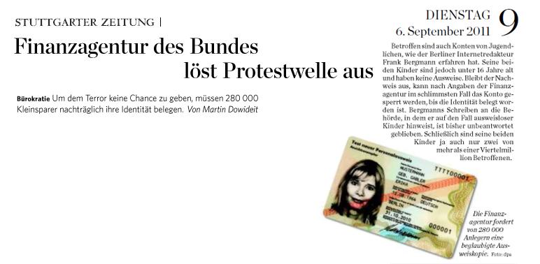 Ausriss aus der Stuttgarter Zeitung vom 6.9.11