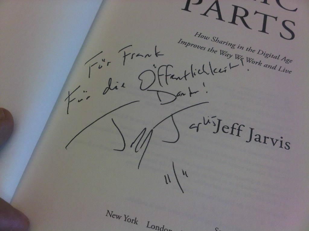 "Widmung im Buch ""public parts"""