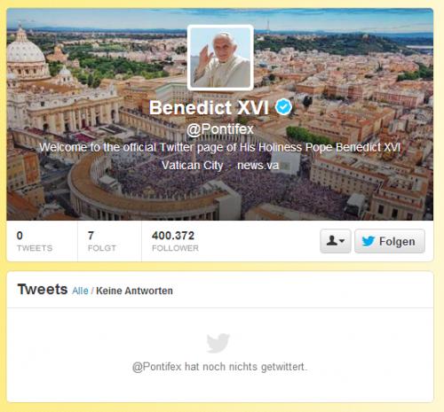 Twitter-Profil des Papstes am 4. Dezember 2012