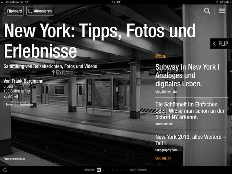 Screenshot: Titelbild meines ersten Flipboard-Magazins