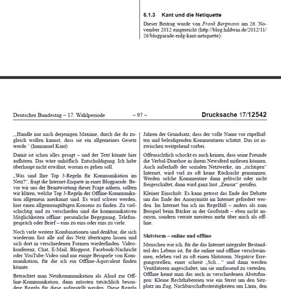 Gebloggt: In einer Drucksache des Deutschen Bundestages