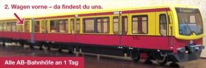 """Mitfahrerinnen und Mitfahrer finden uns im 2. Wagen, hinter dem """"Faltenbalg""""."""