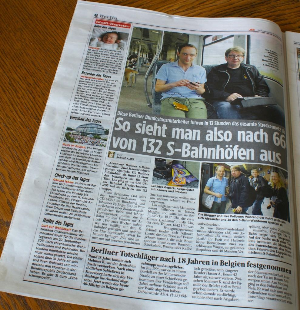 Seite 6 der B.Z. Berlin vom 11.05.2013