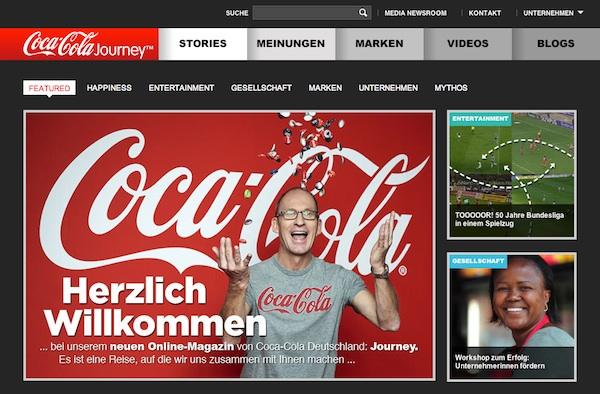 Screenshot: Coca Cola Unternehmenswebseite