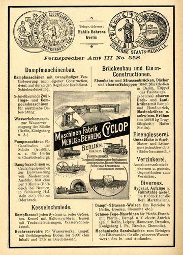 Werbenzeige der Maschinenfabrik Cyclop