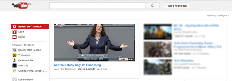Startseite YouTube vom 4. September 2013